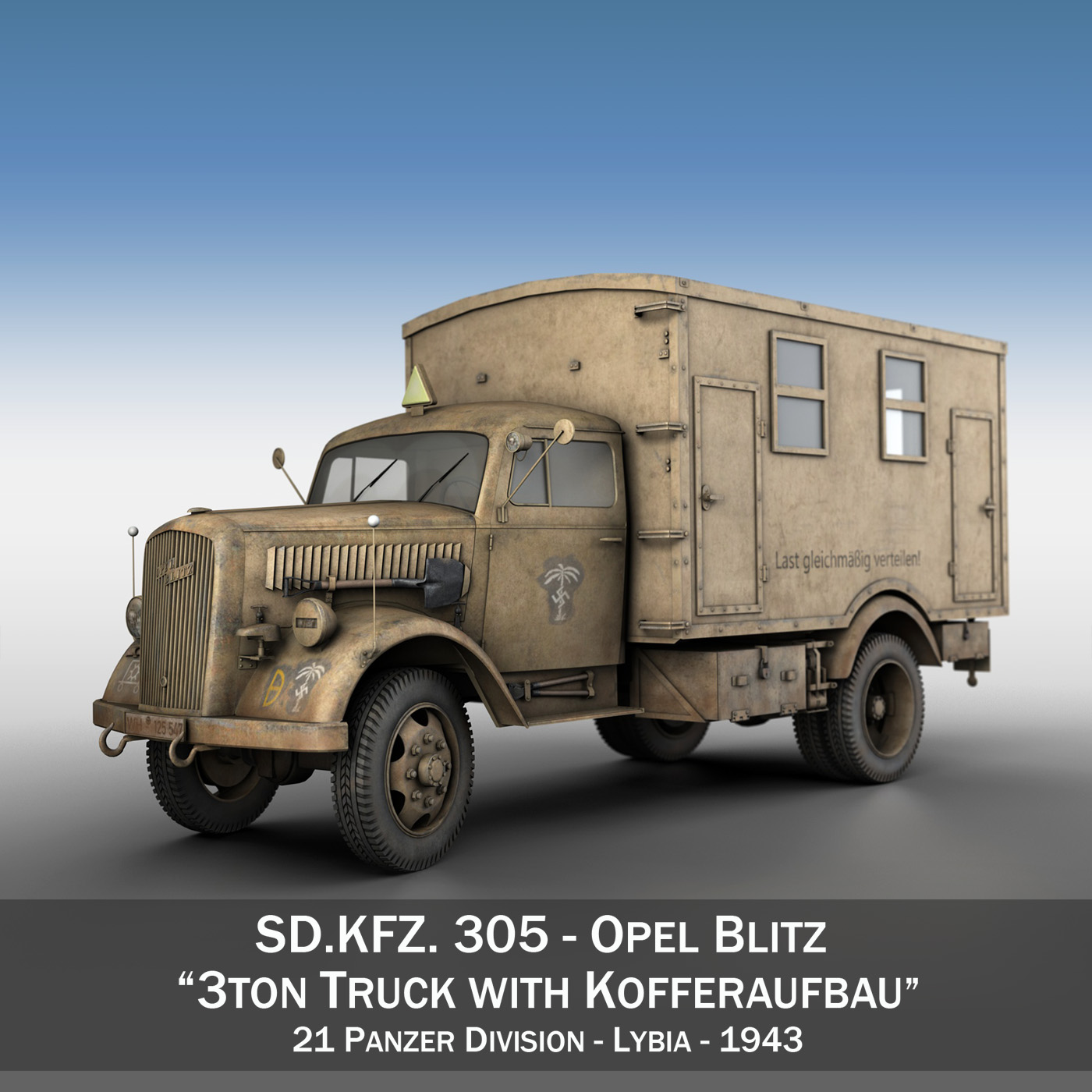 opel blitz – 3t truck with kofferaufbau- 21 pzdiv 3d model 3ds c4d lwo obj 265082