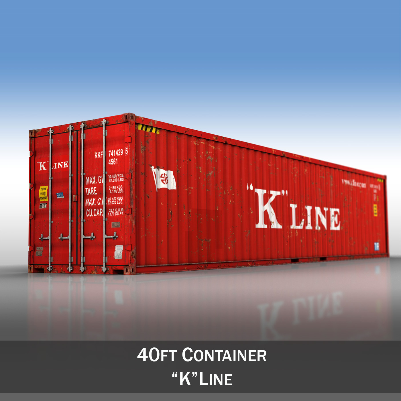 40ft shipping container - k line 3d model 3ds fbx lw lws obj c4d 265115
