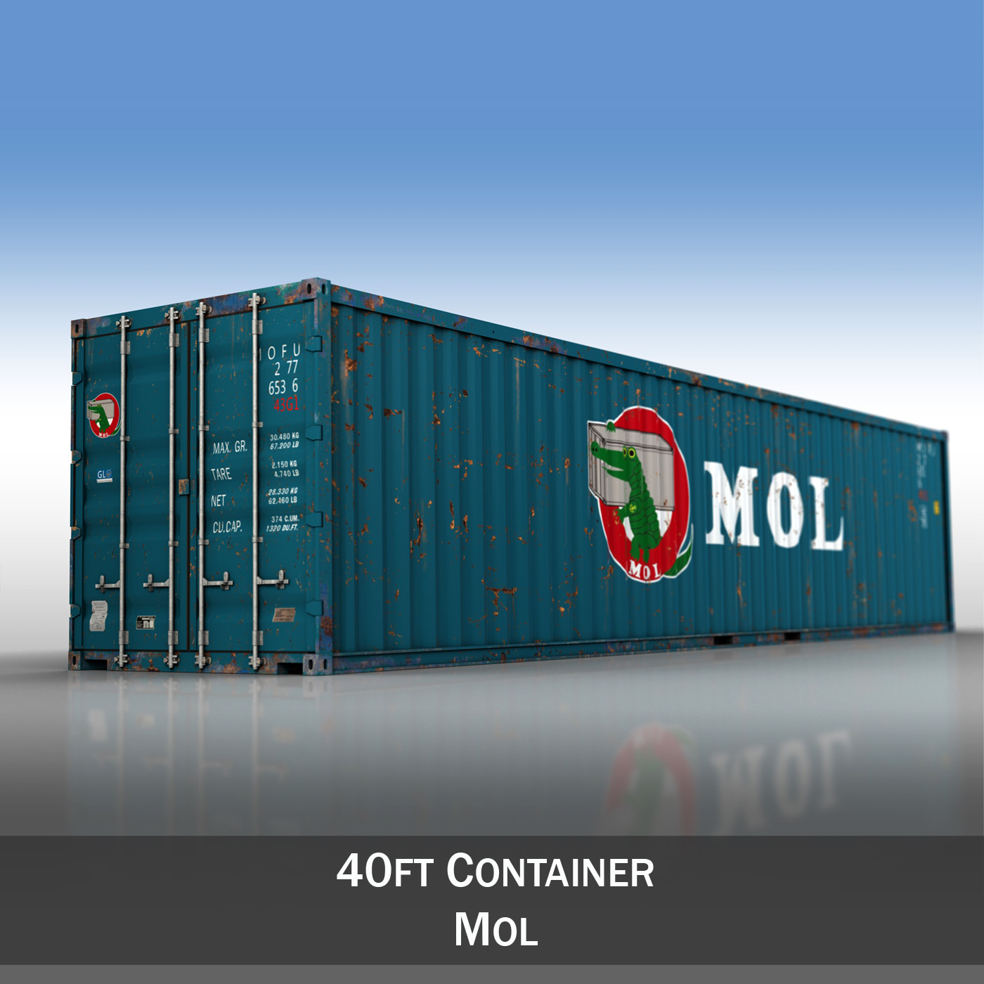 40ft Shipping Container - MOL 3d model  265132