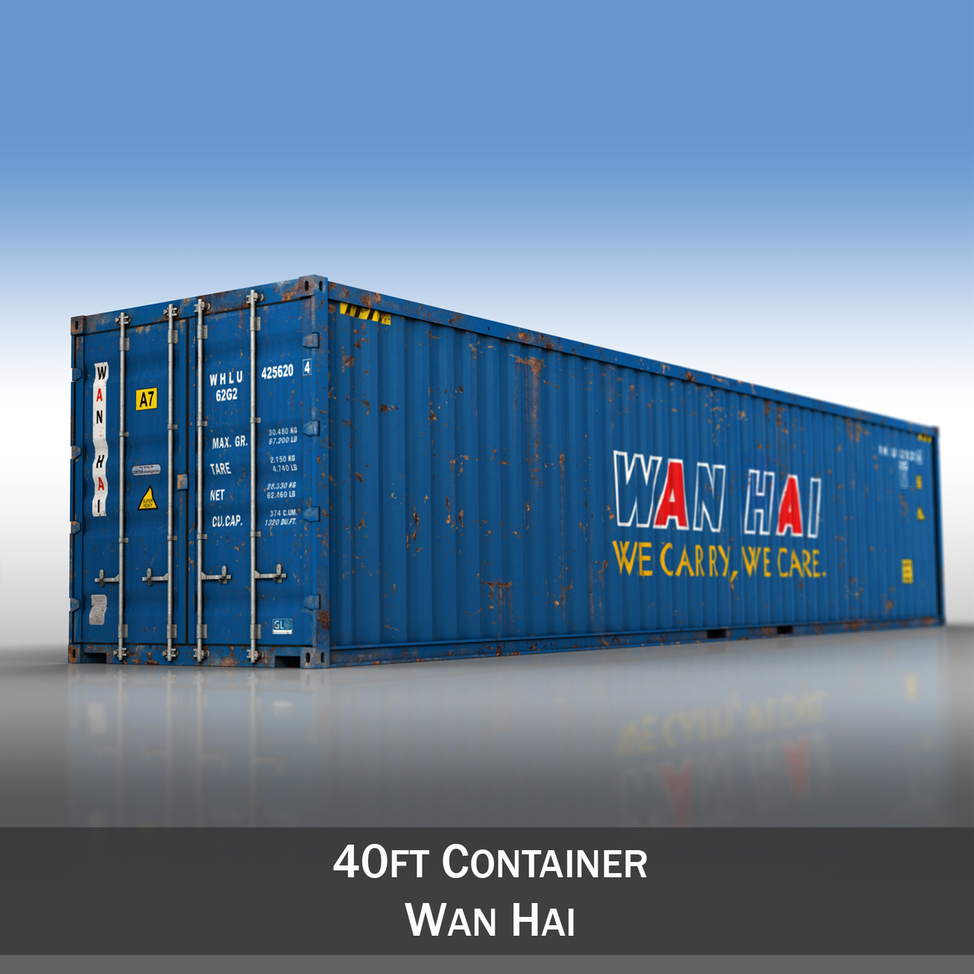 40ft shipping container – wan hai 3d model 3ds fbx lwo lw lws obj c4d 265149