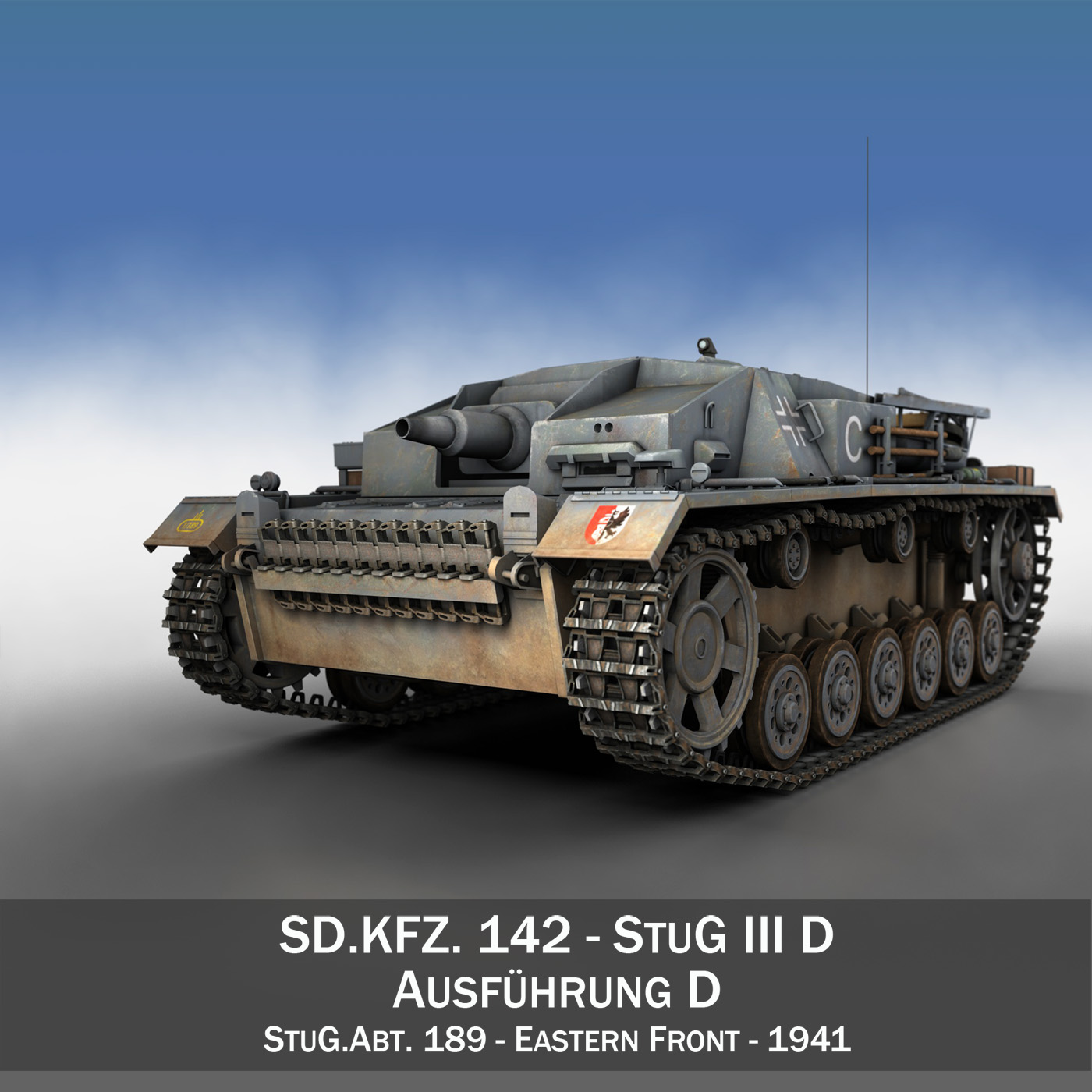 stug iii - ausf.d - stug.abt. 189 3d múnla 3ds fbx lb lw lw lj lv lUMXd 4