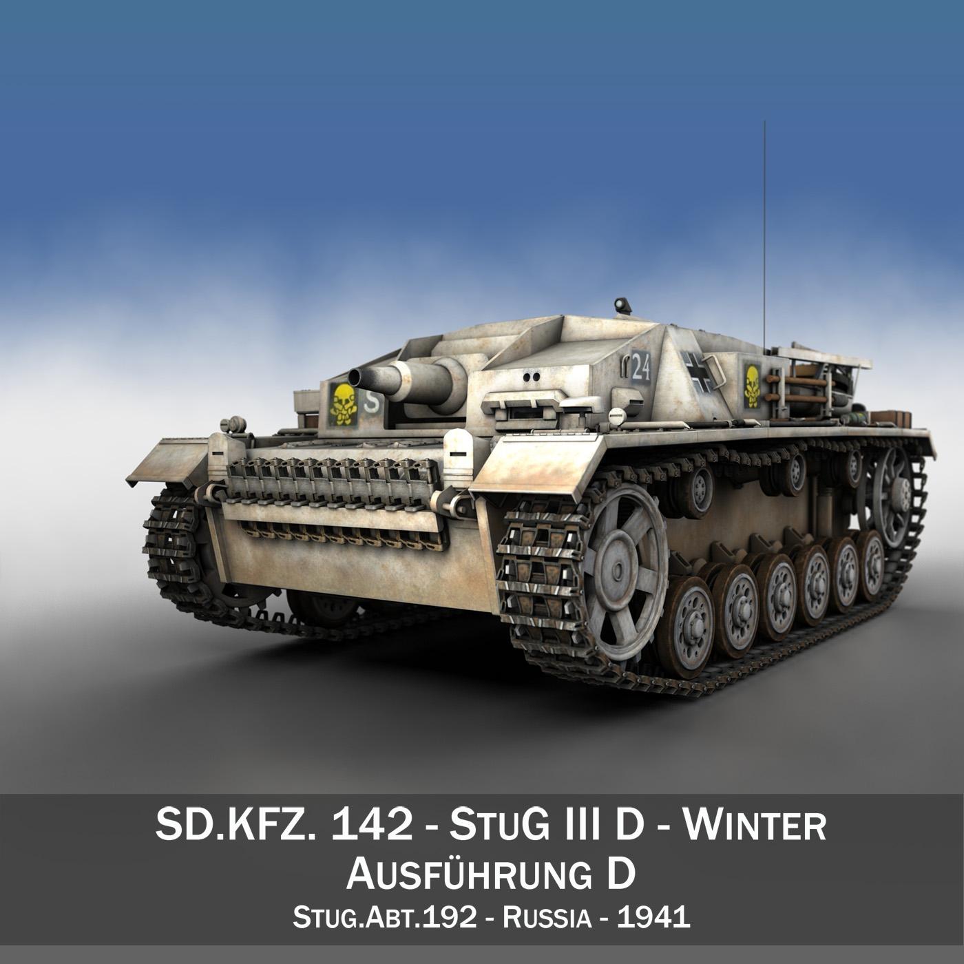 stug iii – ausf.d – stug abt 192 – winter camo 3d model 3ds fbx lwo lw lws obj c4d 265221