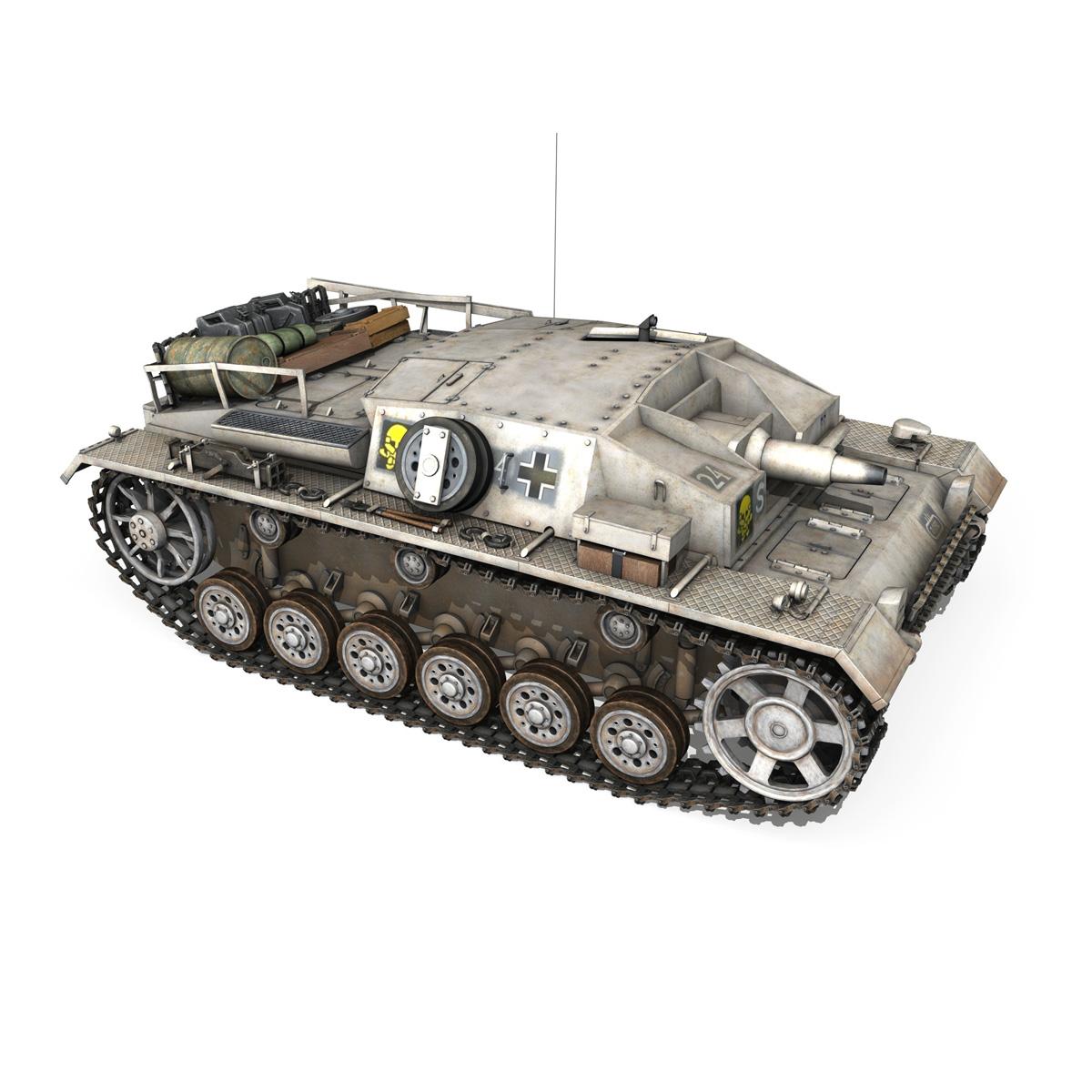 stug iii – ausf.d – stug abt 192 – winter camo 3d model 3ds fbx lwo lw lws obj c4d 265227
