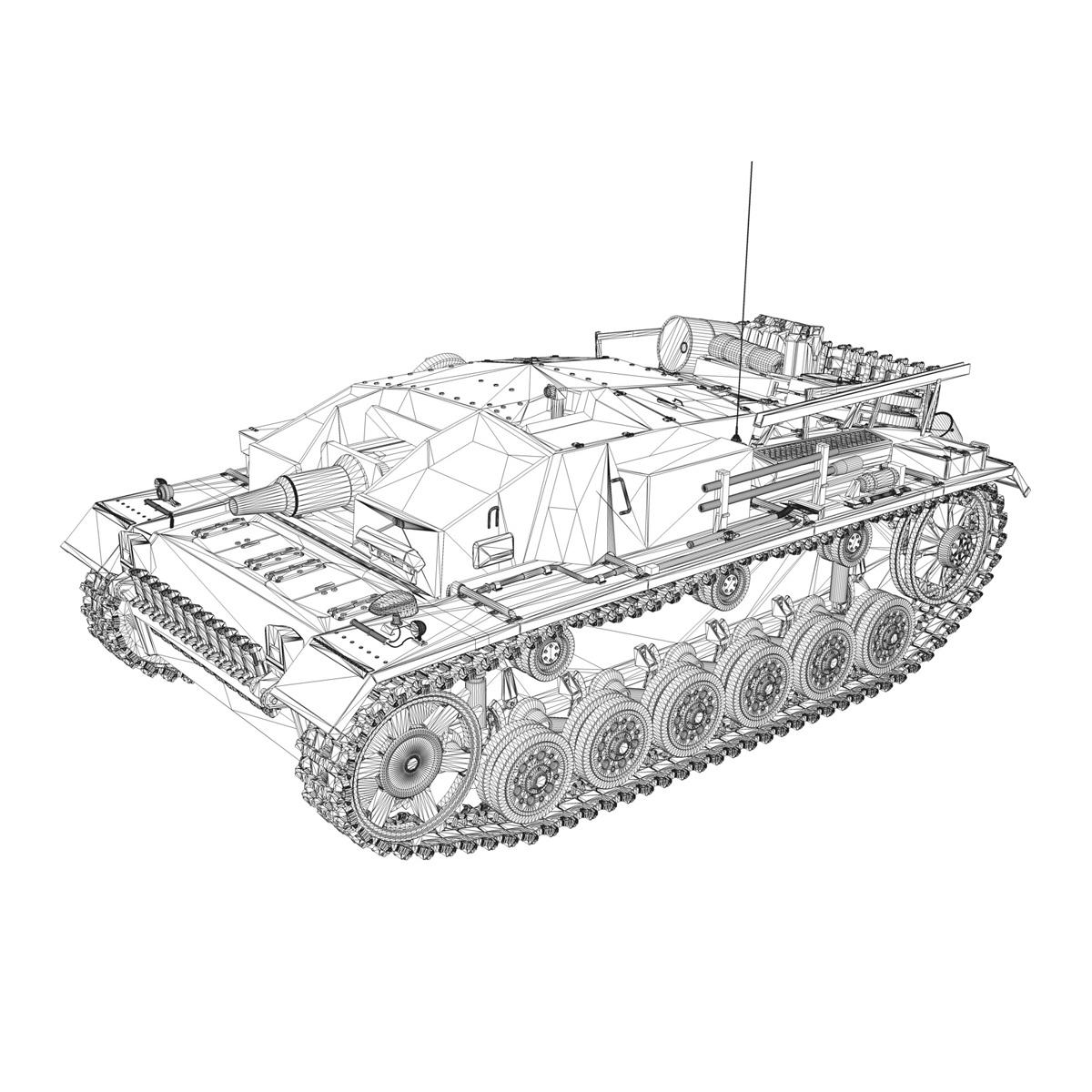 stug iii – ausf.d – stug abt 192 – winter camo 3d model 3ds fbx lwo lw lws obj c4d 265233