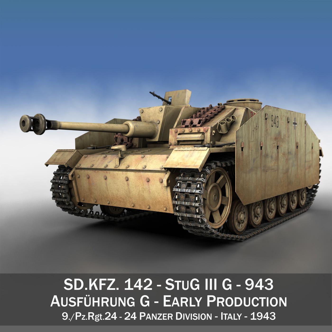 stug iii - ausf.g - 943 - táirgeadh luath múnla 3d 3ds lw lw lws obj c4d 265239