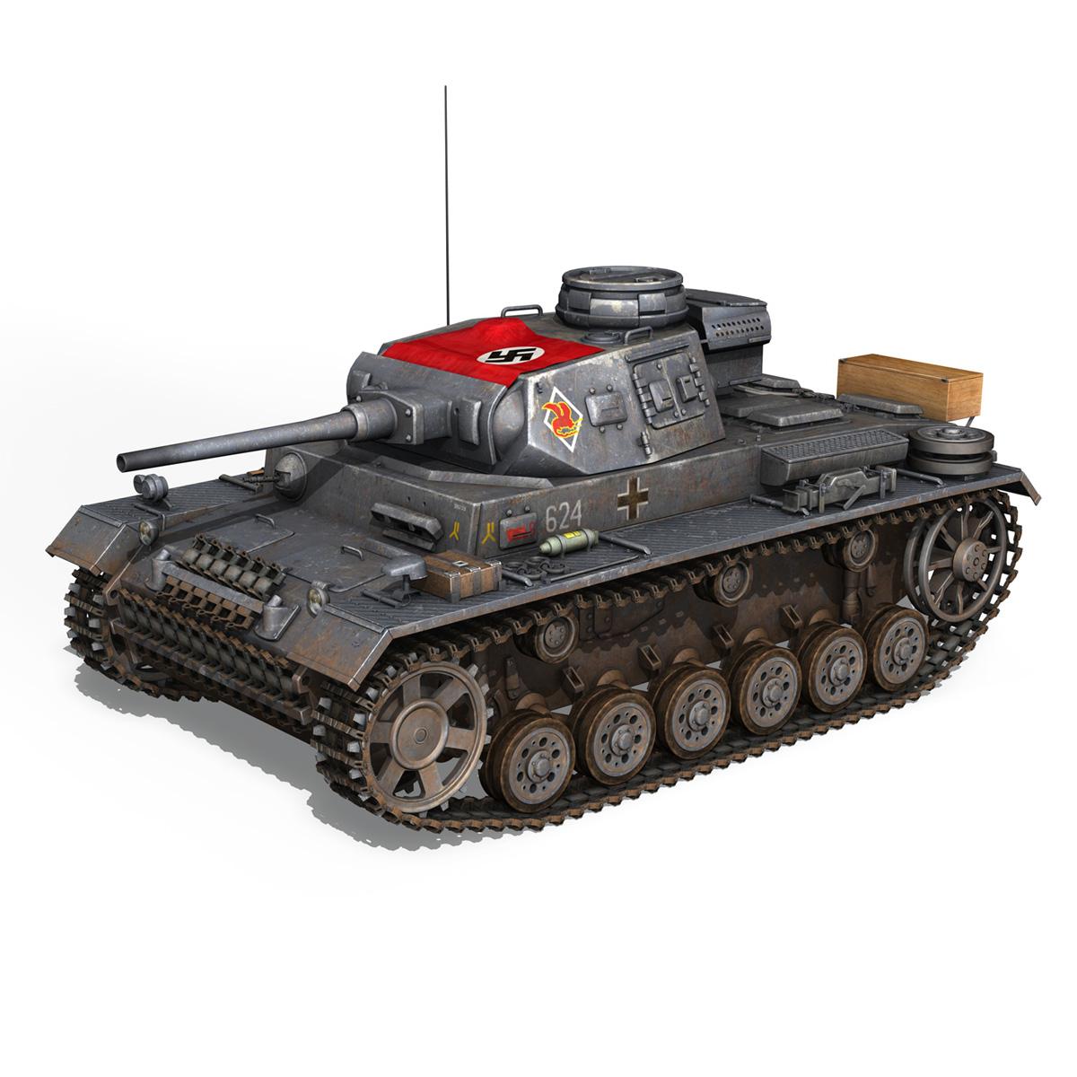 pzkpfw iii – panzer 3 – ausf.j – 624 3d model 3ds fbx lwo lw lws obj c4d 265300