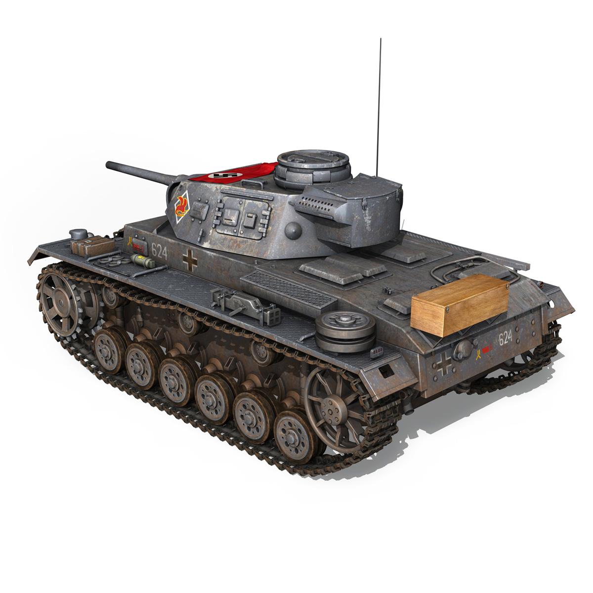 pzkpfw iii – panzer 3 – ausf.j – 624 3d model 3ds fbx lwo lw lws obj c4d 265301