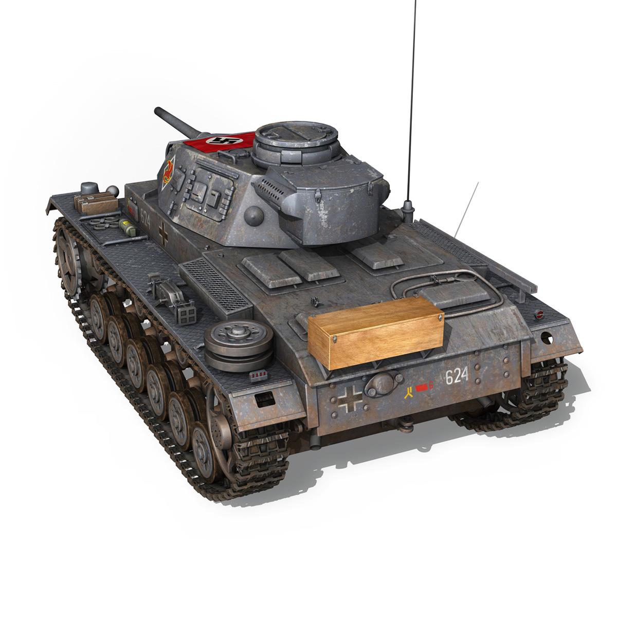 pzkpfw iii – panzer 3 – ausf.j – 624 3d model 3ds fbx lwo lw lws obj c4d 265302