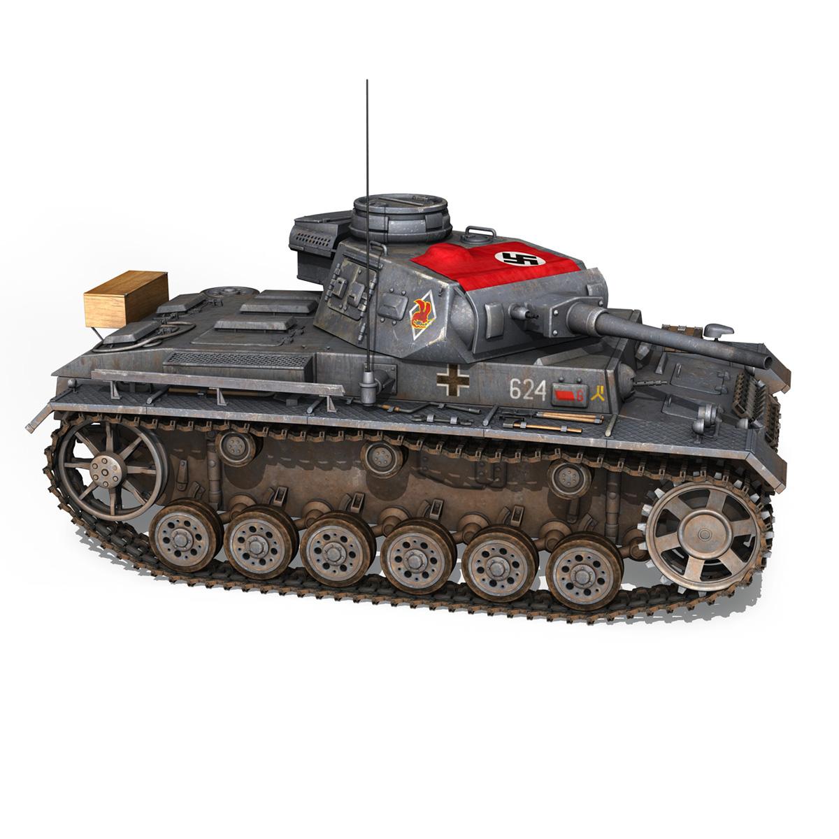 pzkpfw iii – panzer 3 – ausf.j – 624 3d model 3ds fbx lwo lw lws obj c4d 265304