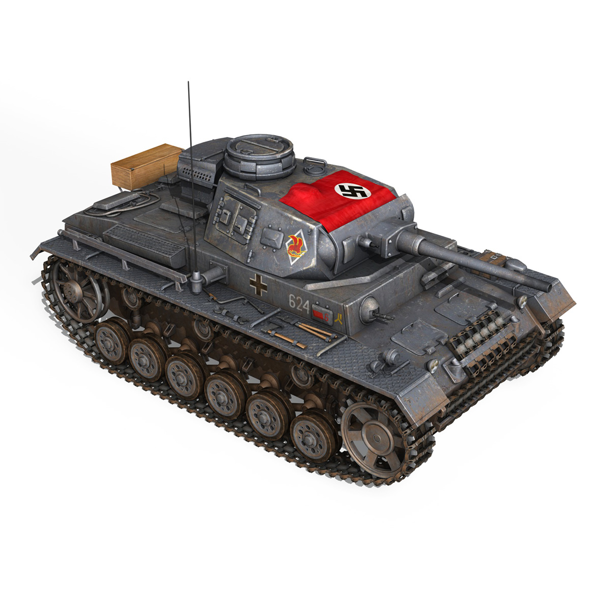 pzkpfw iii – panzer 3 – ausf.j – 624 3d model 3ds fbx lwo lw lws obj c4d 265305