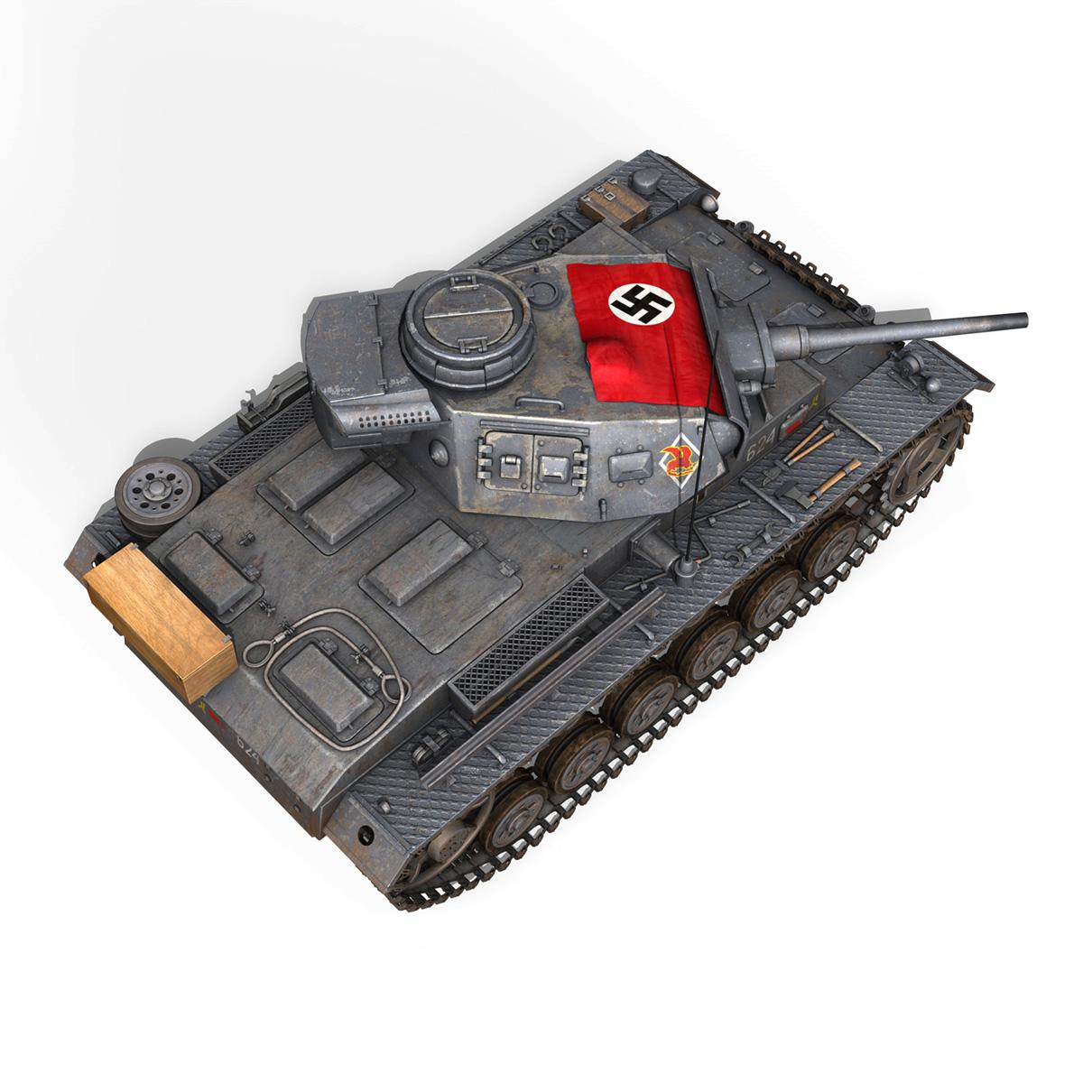 pzkpfw iii – panzer 3 – ausf.j – 624 3d model 3ds fbx lwo lw lws obj c4d 265306