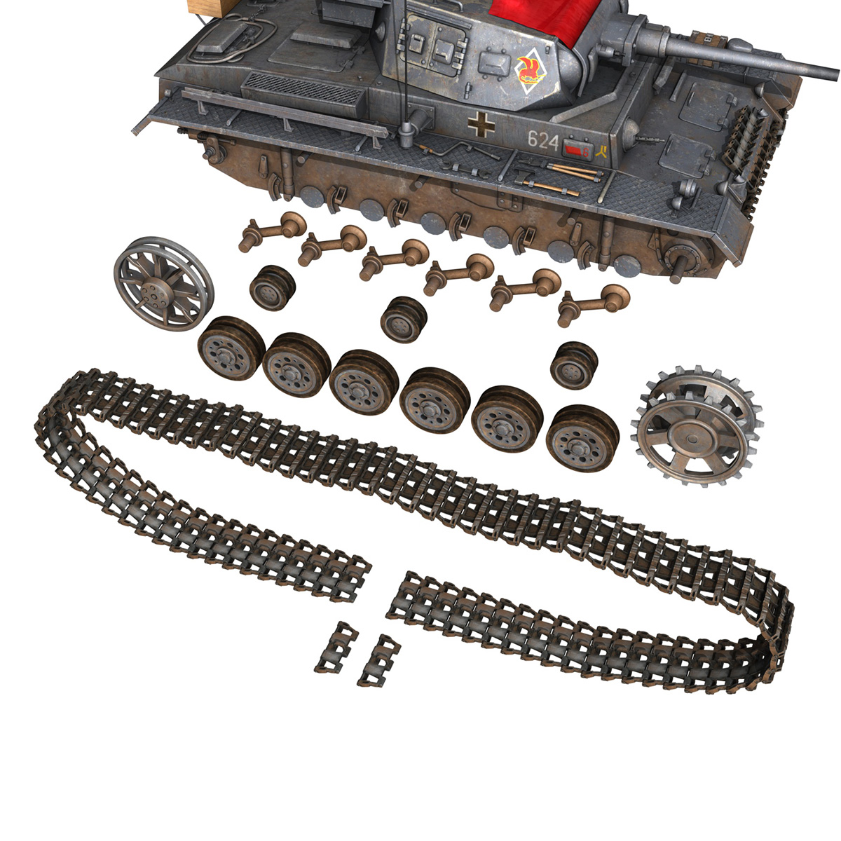 pzkpfw iii – panzer 3 – ausf.j – 624 3d model 3ds fbx lwo lw lws obj c4d 265307