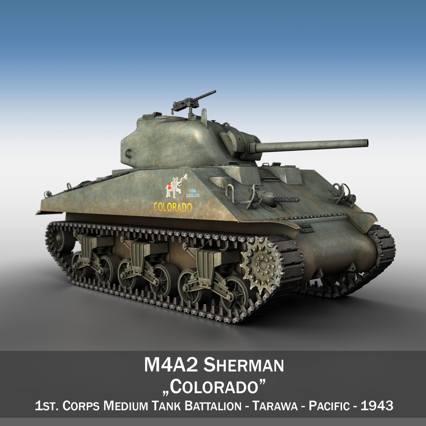 m4a2 sherman – colorado 3d model 3ds fbx lwo lw lws obj c4d 265316