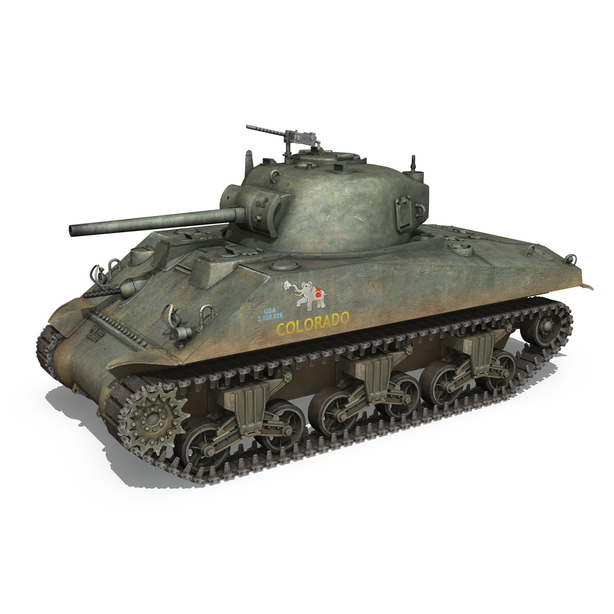 m4a2 sherman – colorado 3d model 3ds fbx lwo lw lws obj c4d 265317
