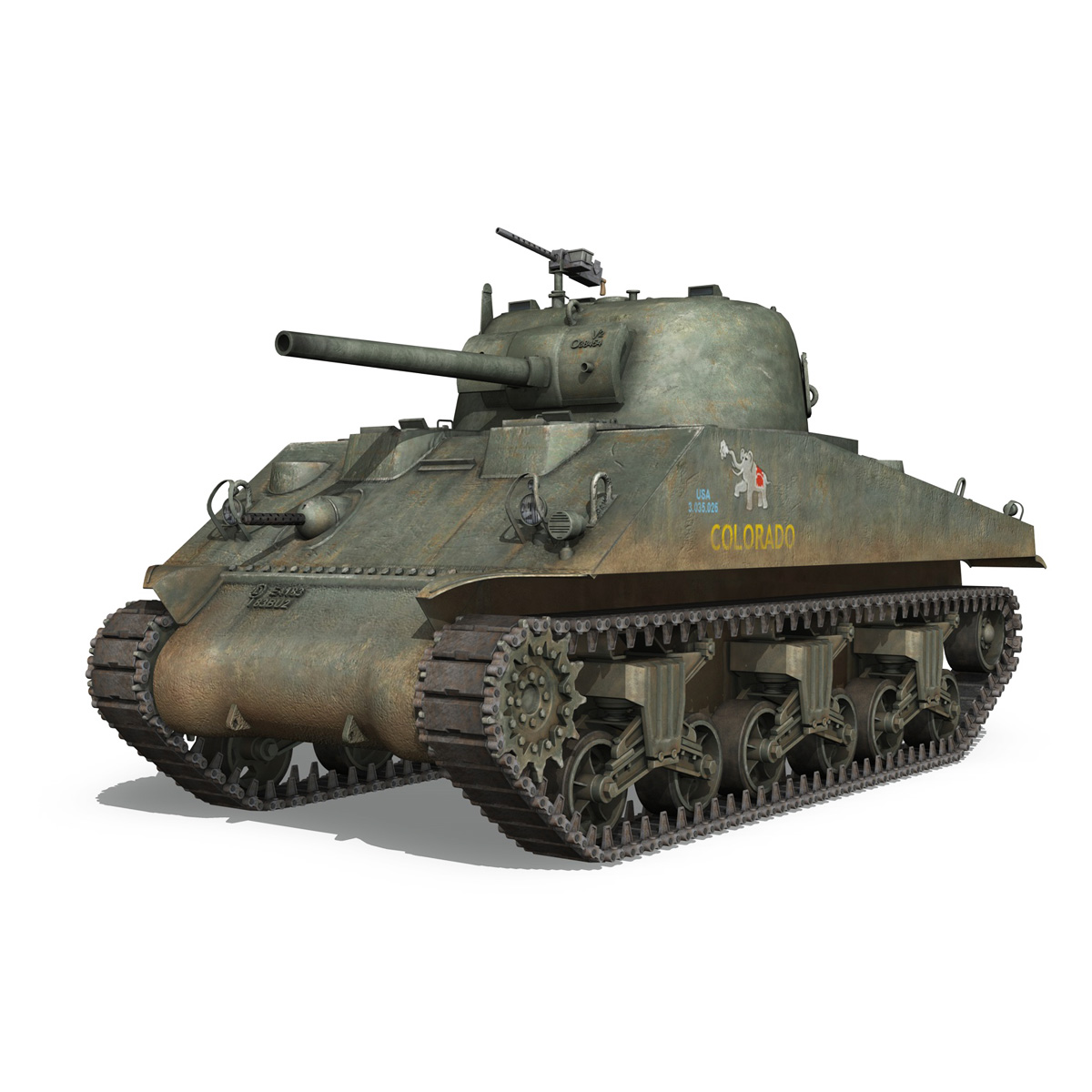 m4a2 sherman – colorado 3d model 3ds fbx lwo lw lws obj c4d 265318