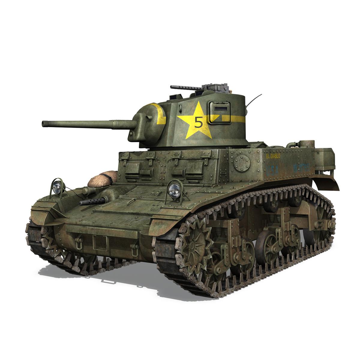 m3 light tank stuart – el diablo 3d model 3ds c4d fbx lwo lw lws obj 265354