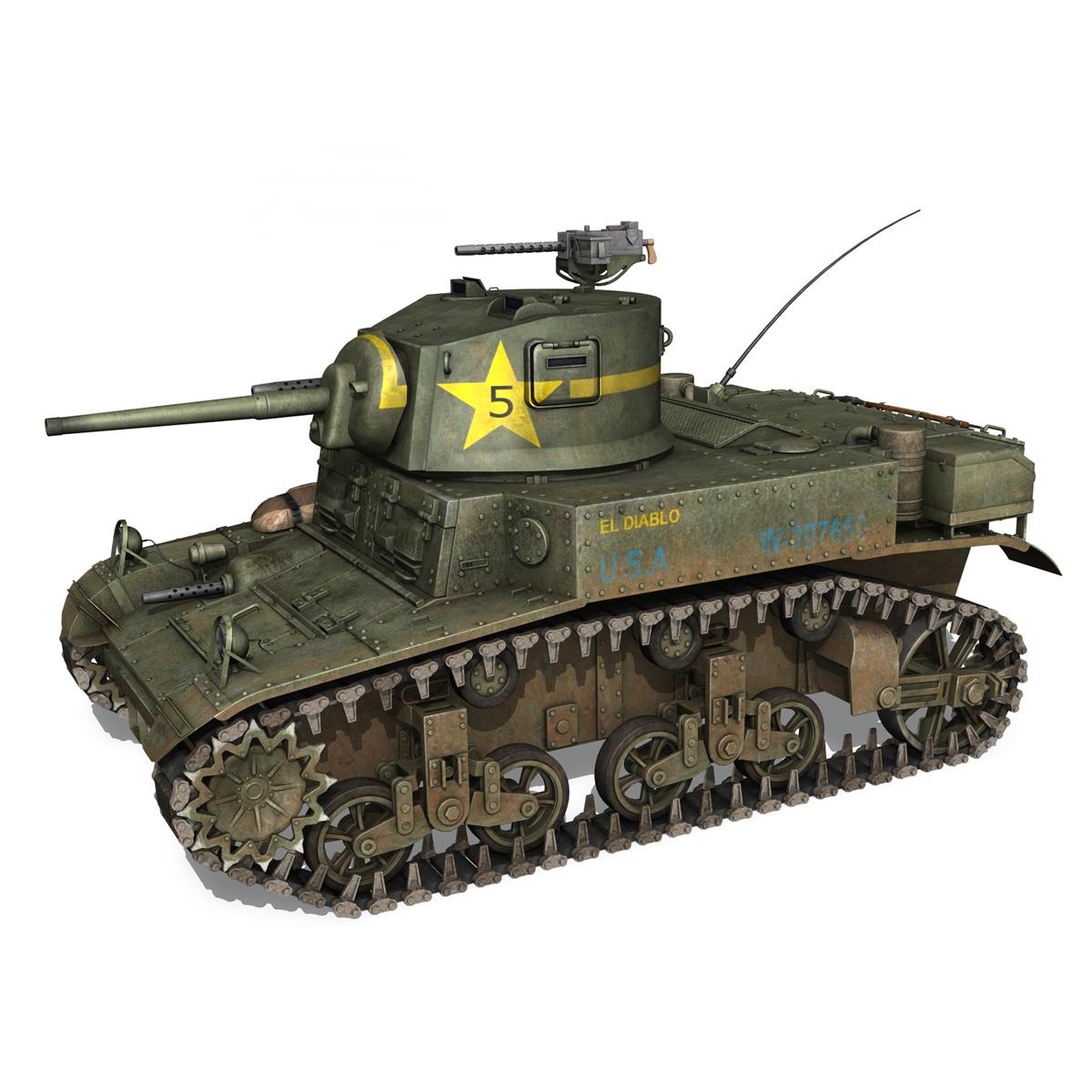 m3 light tank stuart – el diablo 3d model 3ds c4d fbx lwo lw lws obj 265355