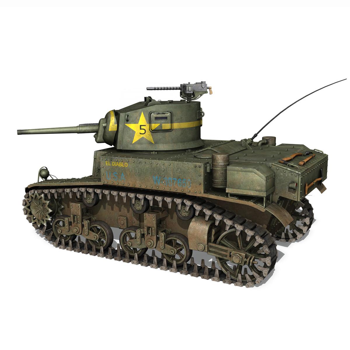 m3 light tank stuart – el diablo 3d model 3ds c4d fbx lwo lw lws obj 265356