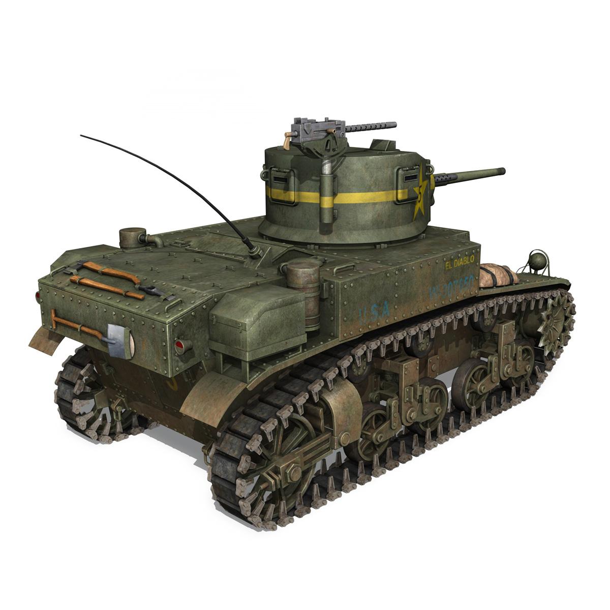 m3 light tank stuart – el diablo 3d model 3ds c4d fbx lwo lw lws obj 265358