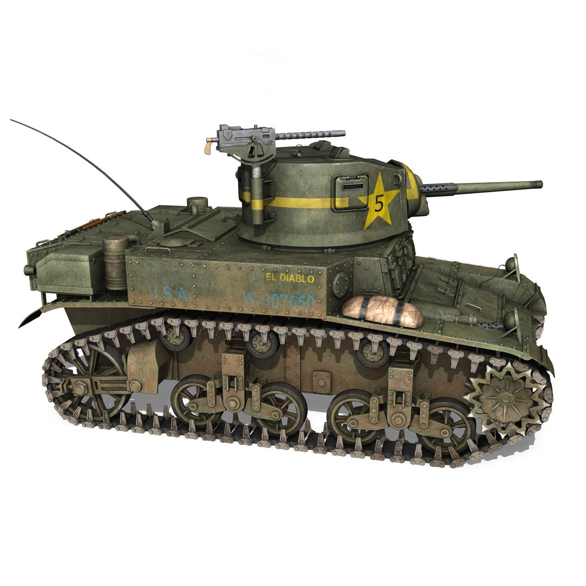 m3 light tank stuart – el diablo 3d model 3ds c4d fbx lwo lw lws obj 265359