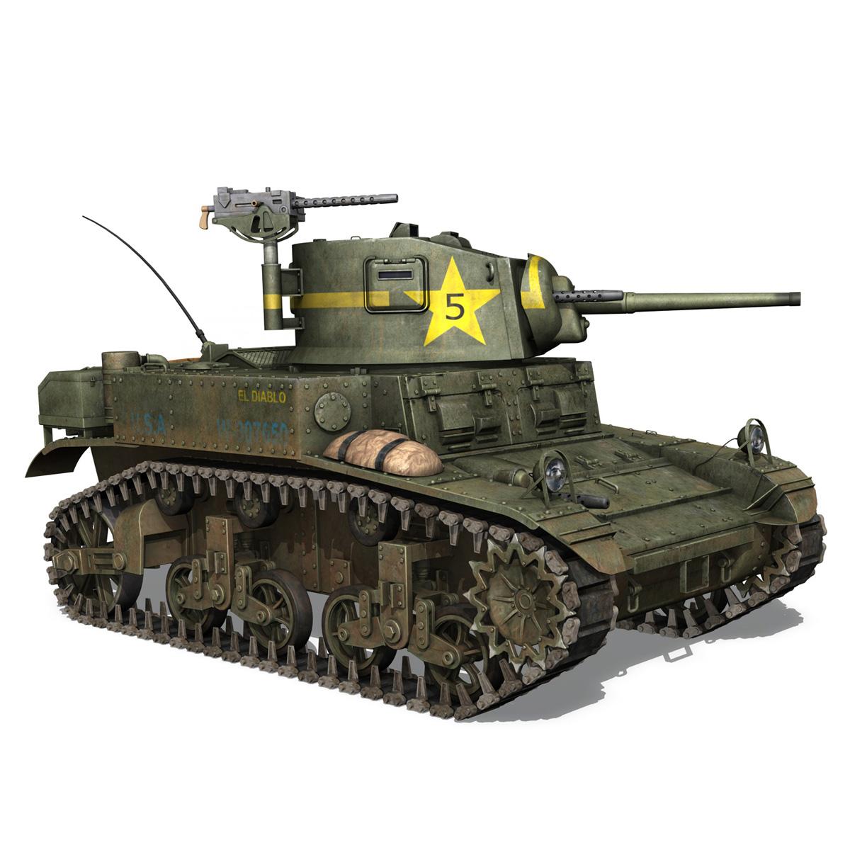 m3 light tank stuart – el diablo 3d model 3ds c4d fbx lwo lw lws obj 265360
