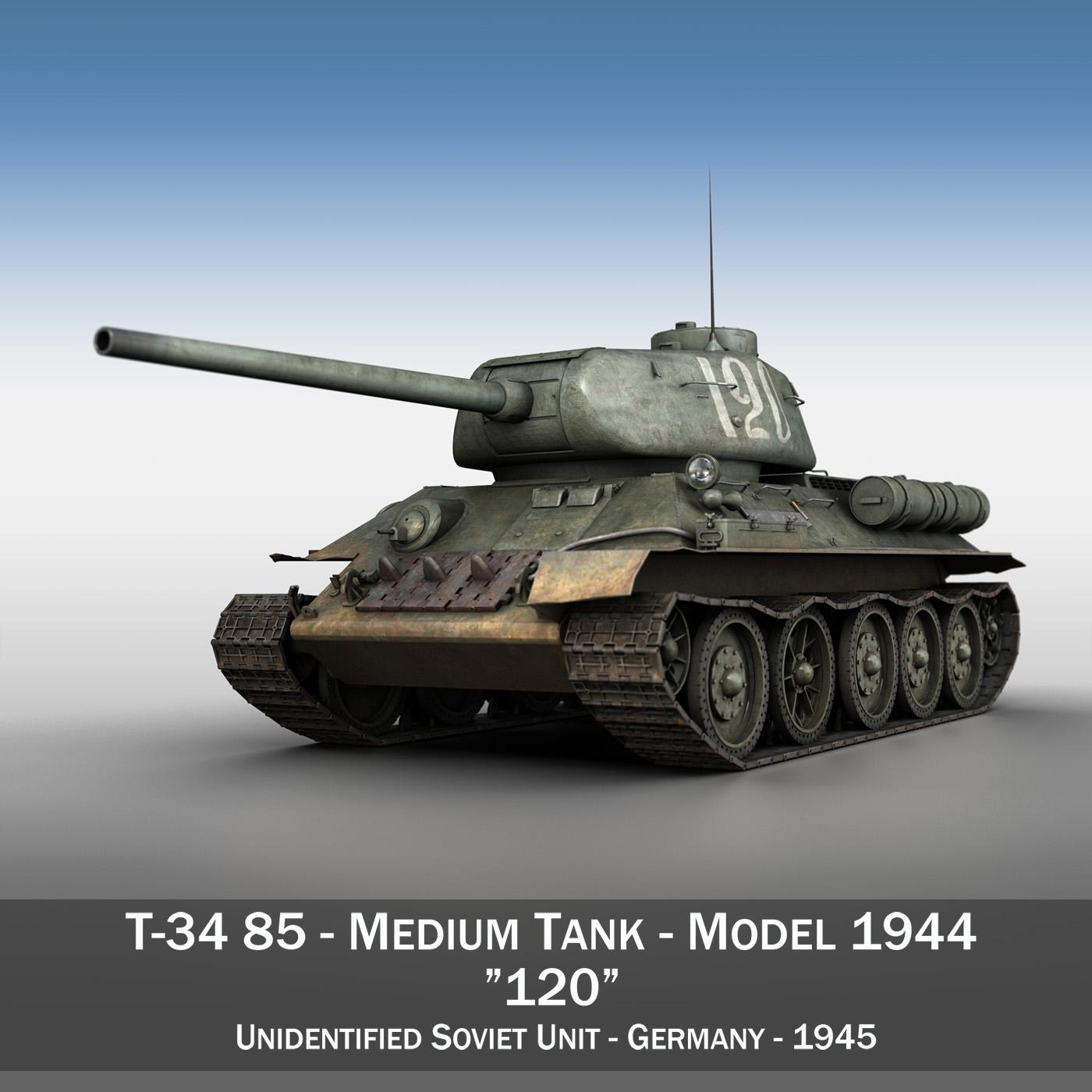 t-34 85 - padomju vidēja tvertne - 120 3d modelis 3ds fwx lws lws obj c4d 265369