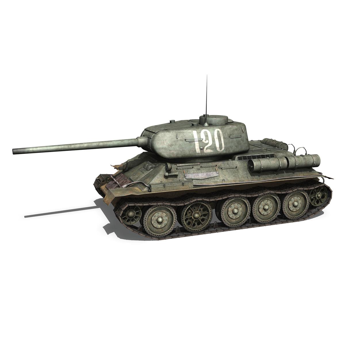 t-34 85 – soviet medium tank – 120 3d model 3ds fbx lwo lw lws obj c4d 265371