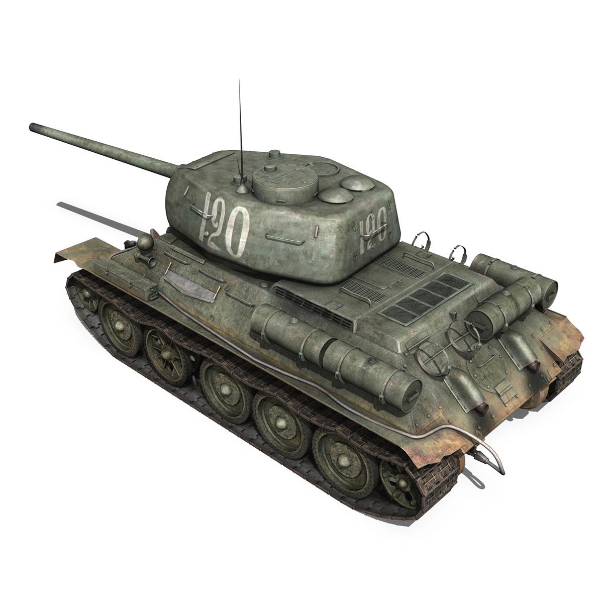 t-34 85 – soviet medium tank – 120 3d model 3ds fbx lwo lw lws obj c4d 265372