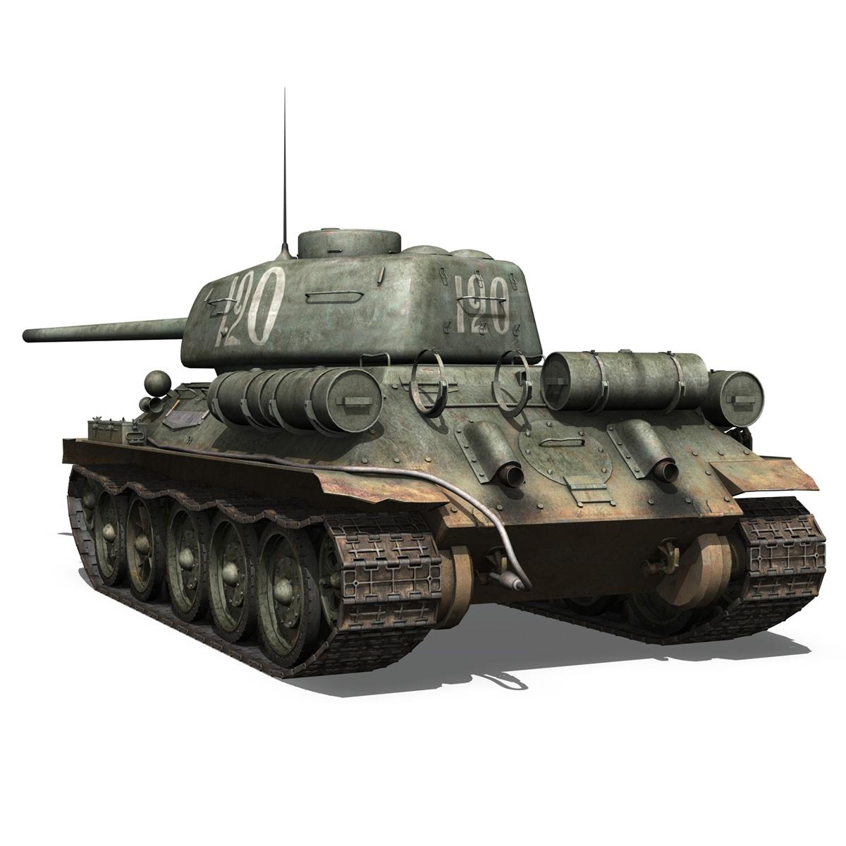t-34 85 – soviet medium tank – 120 3d model 3ds fbx lwo lw lws obj c4d 265373
