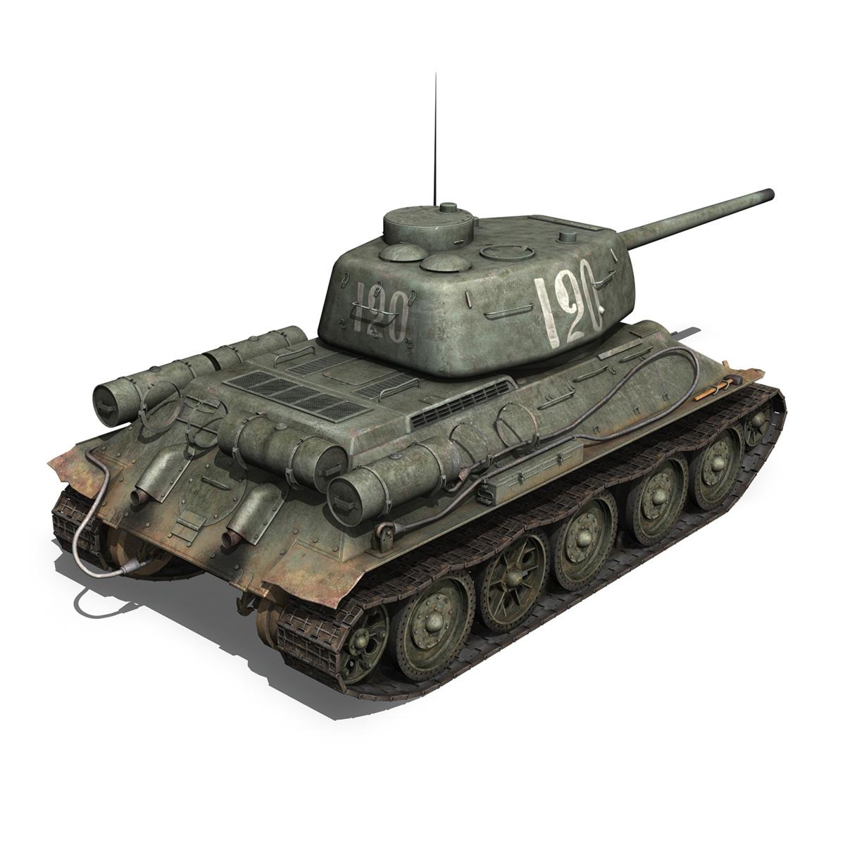 t-34 85 – soviet medium tank – 120 3d model 3ds fbx lwo lw lws obj c4d 265374