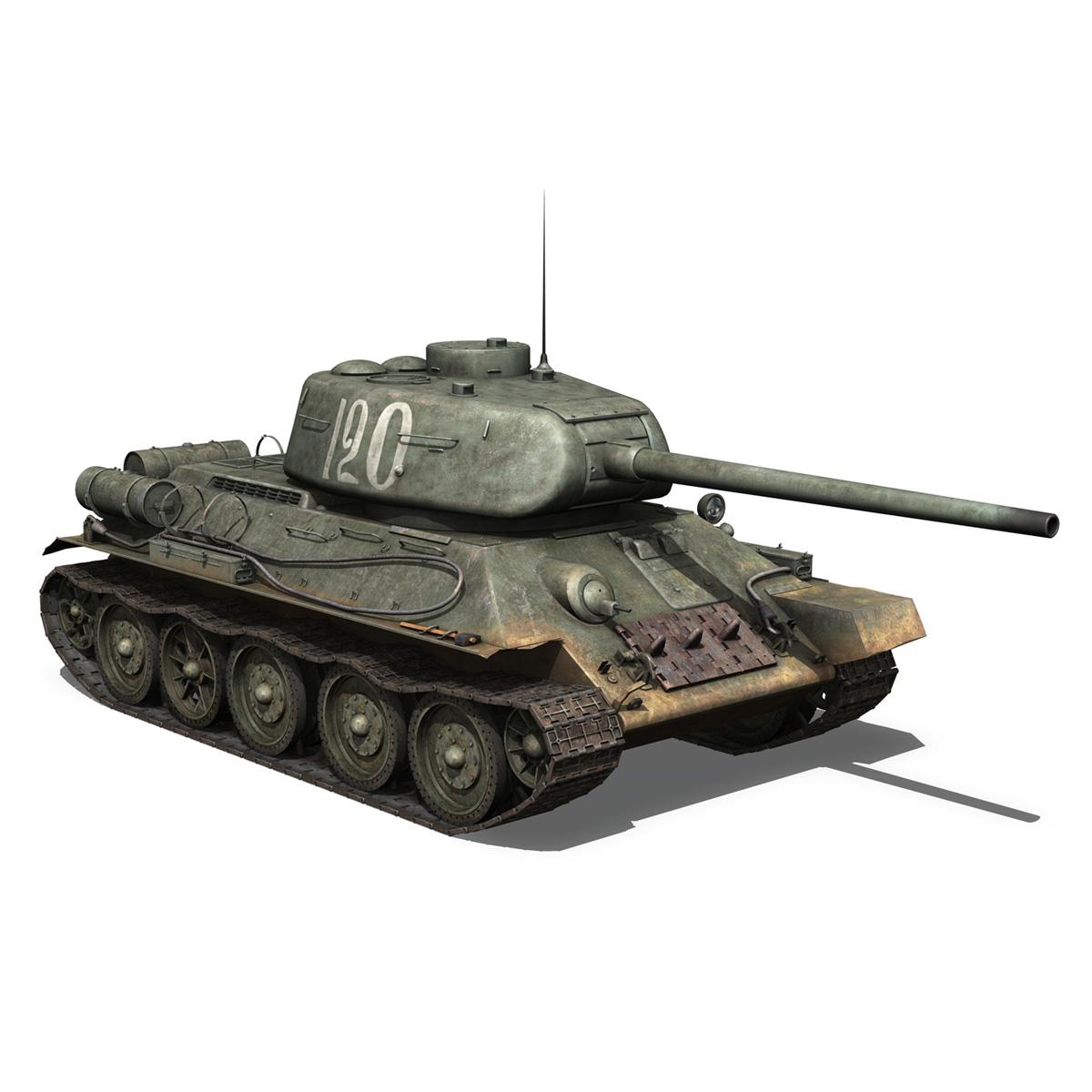 t-34 85 – soviet medium tank – 120 3d model 3ds fbx lwo lw lws obj c4d 265375