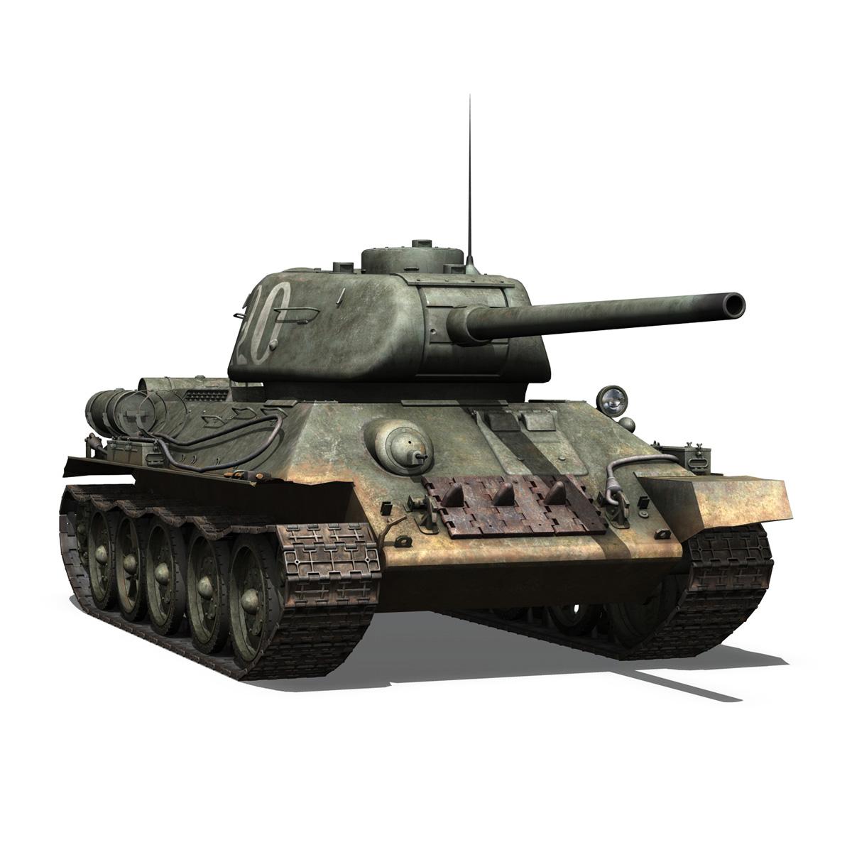 t-34 85 – soviet medium tank – 120 3d model 3ds fbx lwo lw lws obj c4d 265376