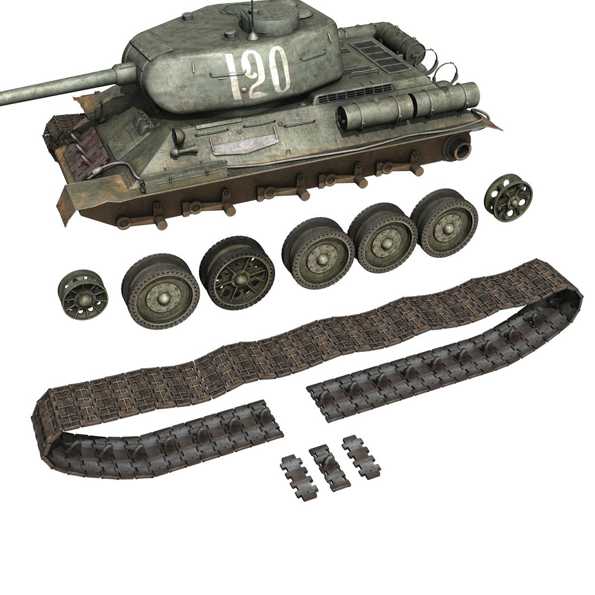 t-34 85 – soviet medium tank – 120 3d model 3ds fbx lwo lw lws obj c4d 265377