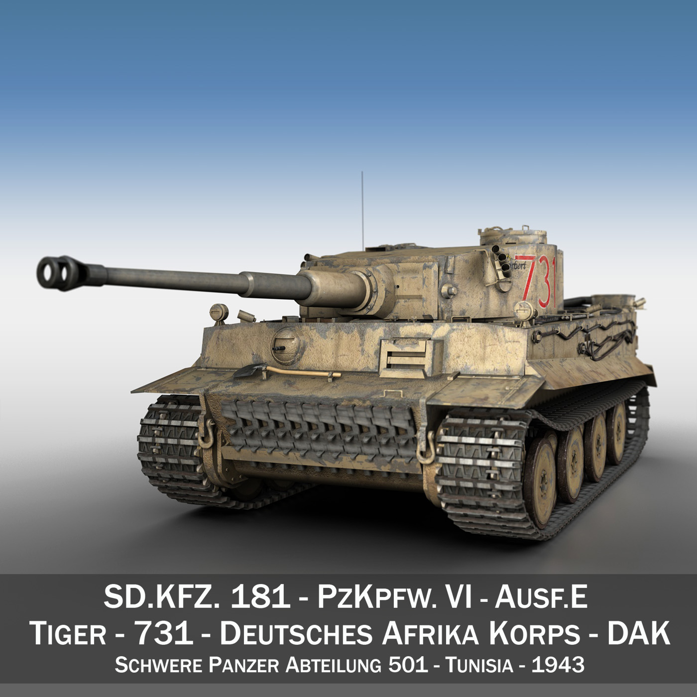 panzer vi – tiger – 731 – early production 3d model 3ds lwo lw lws obj c4d fbx 265429