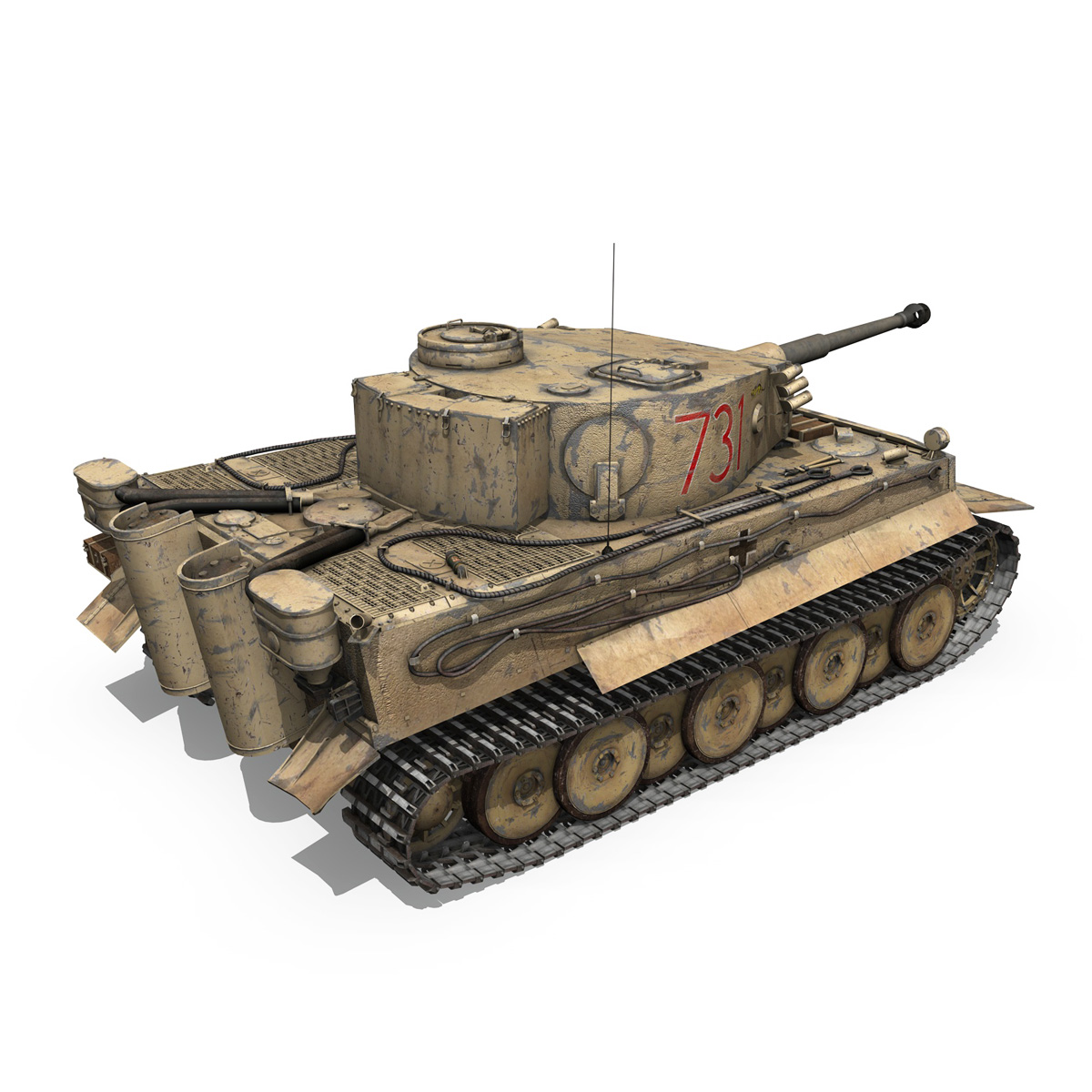 panzer vi – tiger – 731 – early production 3d model 3ds lwo lw lws obj c4d fbx 265435