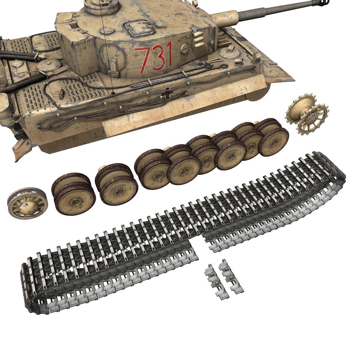 panzer vi – tiger – 731 – early production 3d model 3ds lwo lw lws obj c4d fbx 265438