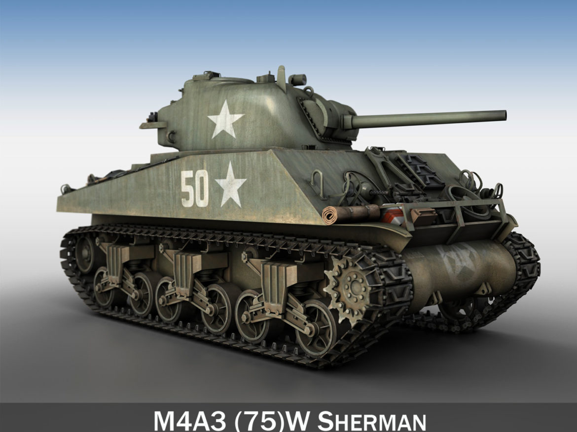 M4A3 75mm - Sherman - 50 3d model high poly virtual reality