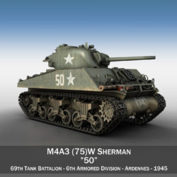 M4A3 75mm - Sherman - 50 3d model 0