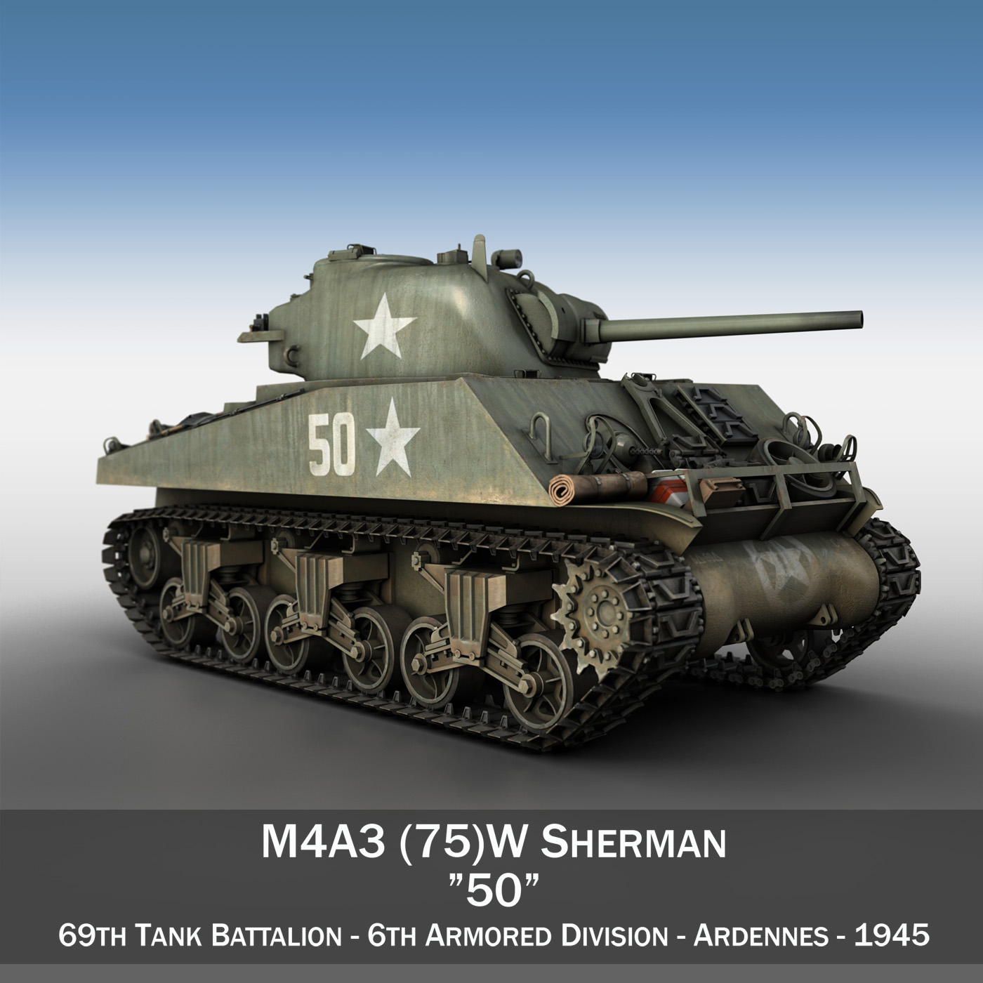m4a3 75mm – sherman – 50 3d model 3ds fbx lwo lw lws obj c4d 265524