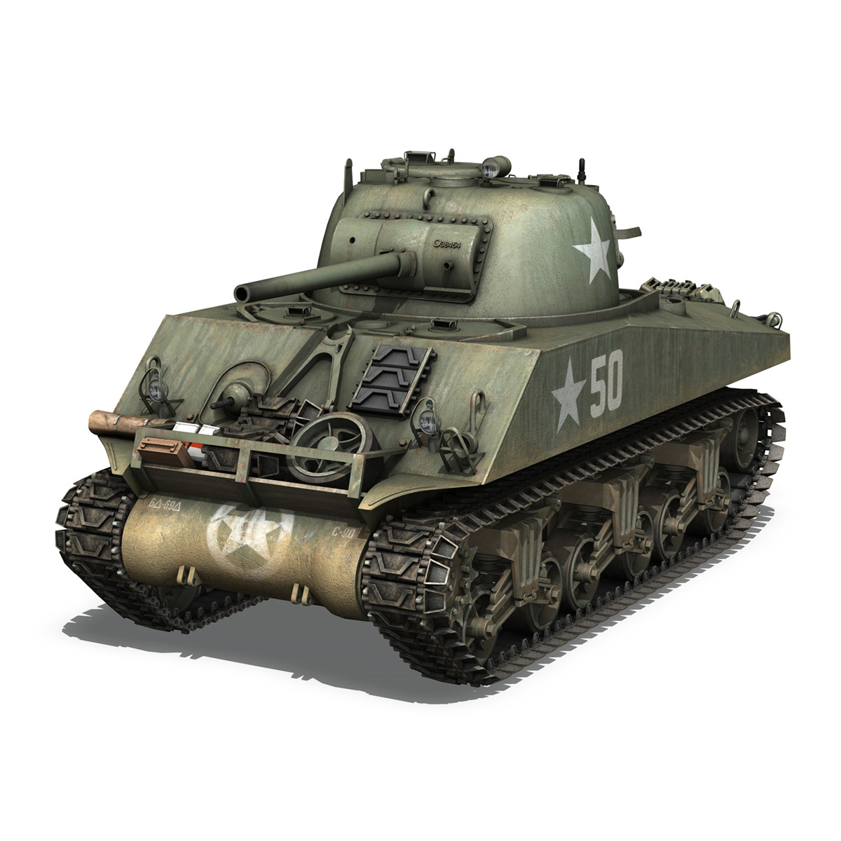 m4a3 75mm – sherman – 50 3d model 3ds fbx lwo lw lws obj c4d 265525