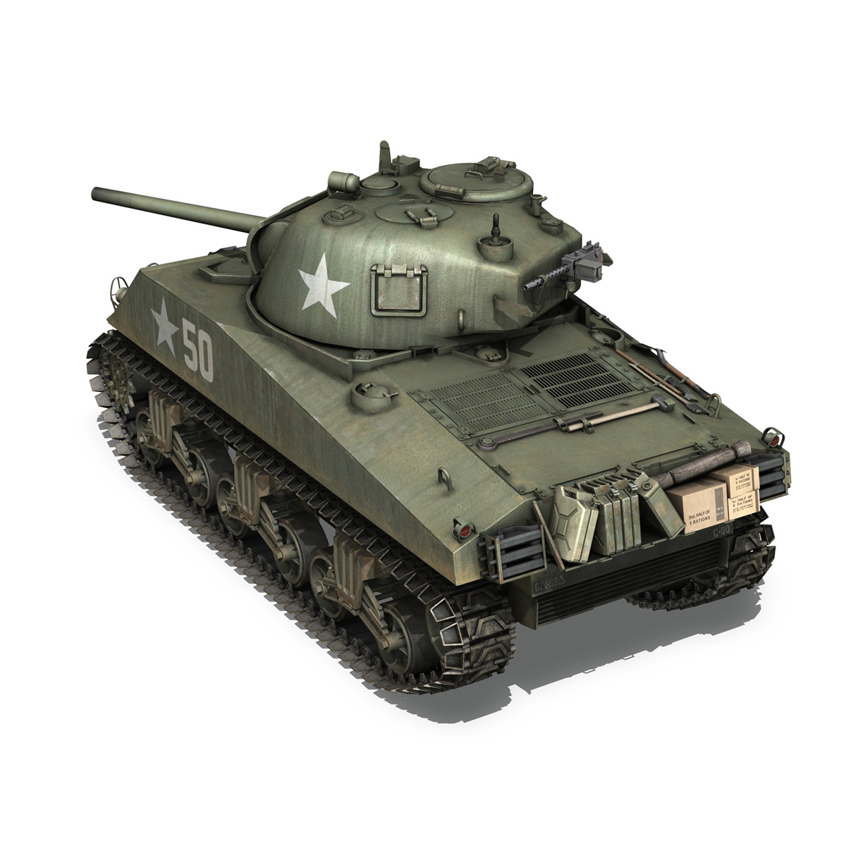m4a3 75mm – sherman – 50 3d model 3ds fbx lwo lw lws obj c4d 265528