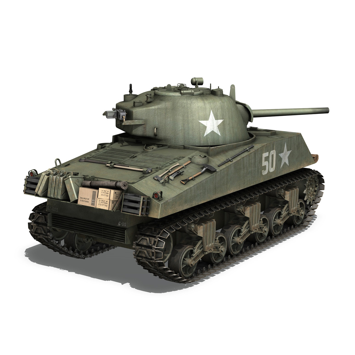 m4a3 75mm – sherman – 50 3d model 3ds fbx lwo lw lws obj c4d 265529