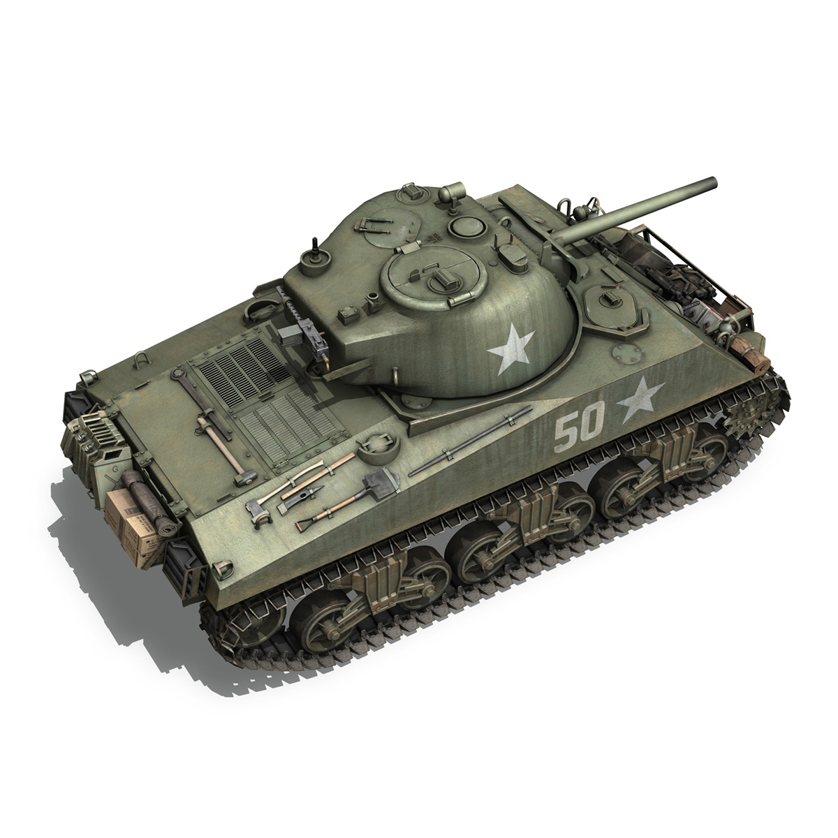 m4a3 75mm – sherman – 50 3d model 3ds fbx lwo lw lws obj c4d 265530