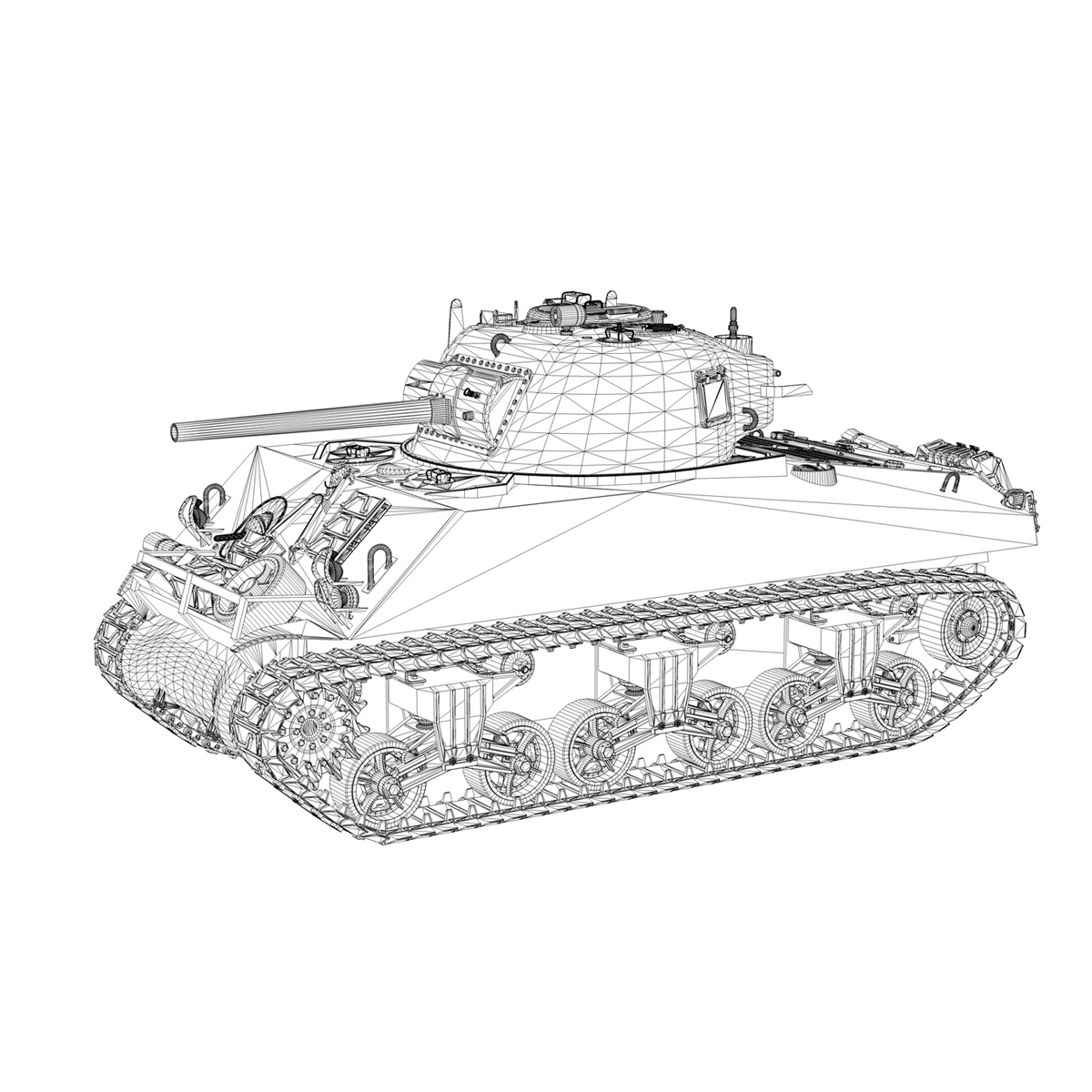 m4a3 75mm – sherman – 50 3d model 3ds fbx lwo lw lws obj c4d 265537