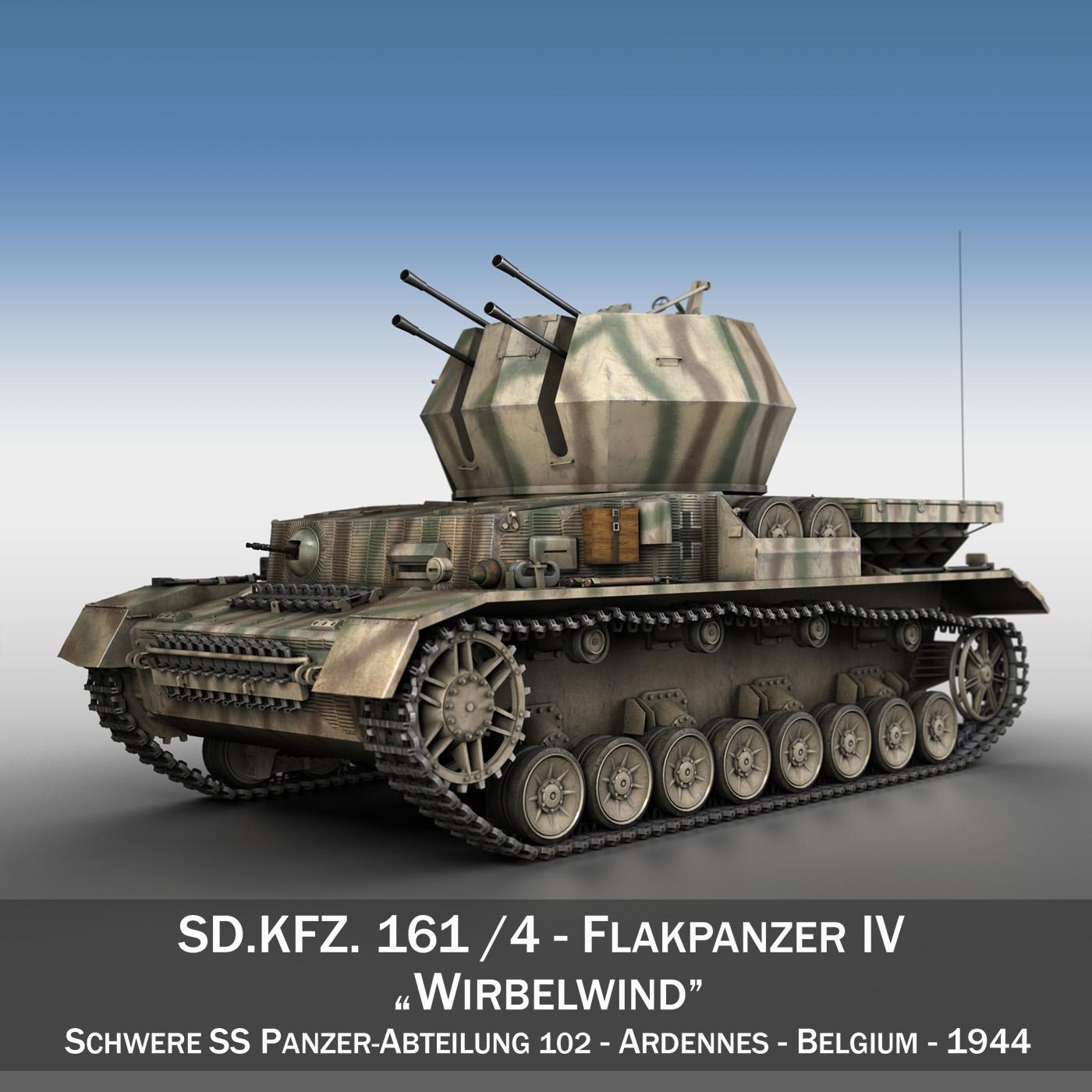 flakpanzer iv - tsamhail - earraíocht - s.ss-pzabt.102 Samhail 3d