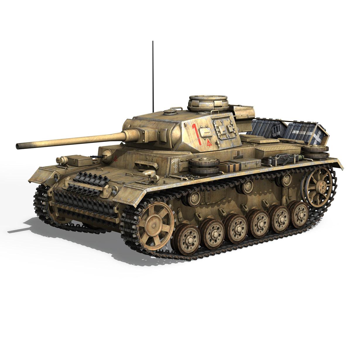 pzkpfw iii – panzerkampfwagen 3 – ausf.j – dak – 1 3d model 3ds fbx lwo lw lws obj c4d 265584