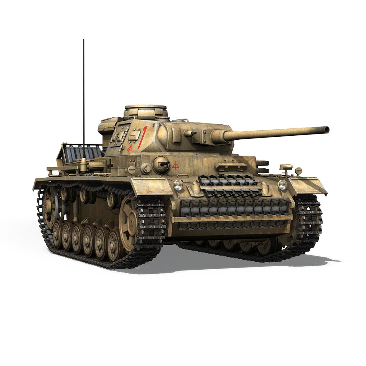 pzkpfw iii – panzerkampfwagen 3 – ausf.j – dak – 1 3d model 3ds fbx lwo lw lws obj c4d 265591