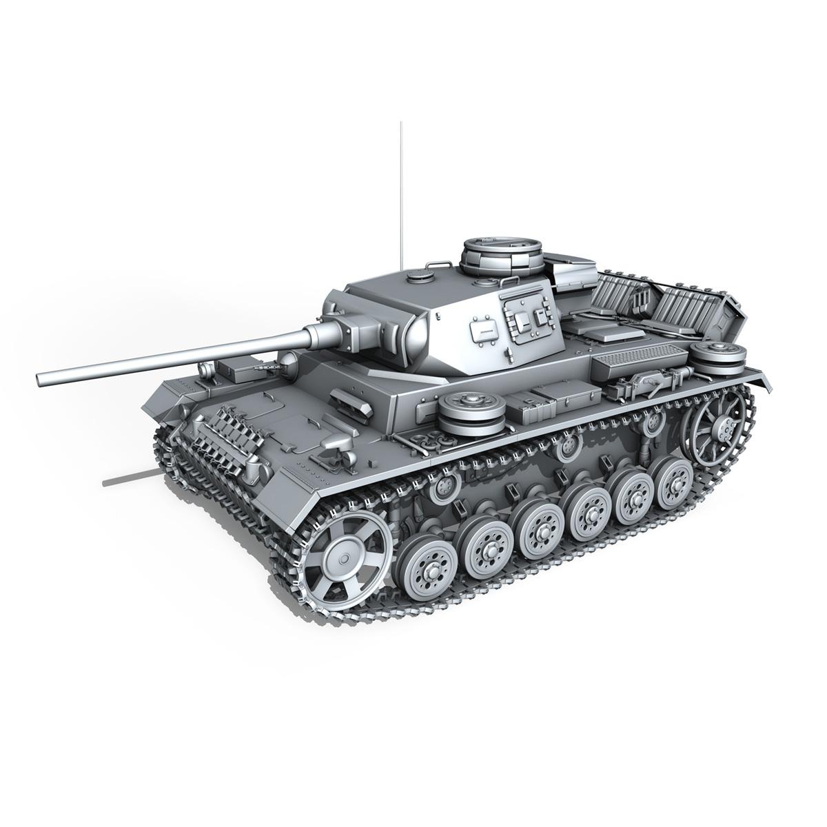 pzkpfw iii – panzerkampfwagen 3 – ausf.j – dak – 1 3d model 3ds fbx lwo lw lws obj c4d 265593