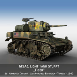 M3A1 Light Tank Stuart - Tiger 3d model 0