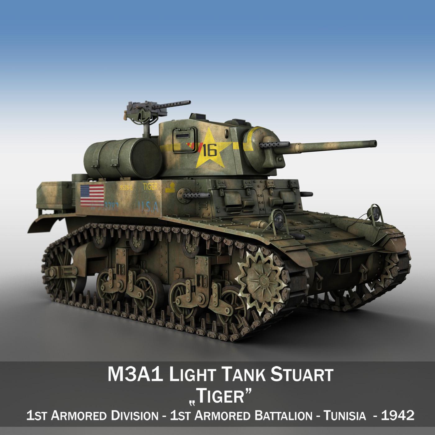 m3a1 light tank stuart – tiger 3d model 3ds c4d fbx lwo lw lws obj 265633